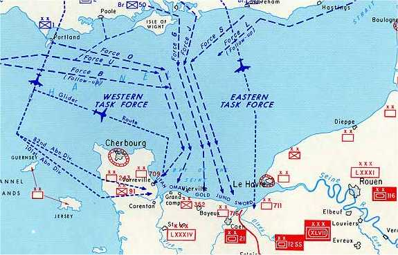 Map of the Normandy Invasion routes