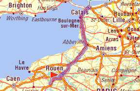 Route from Calais/Boulogne - click for full details