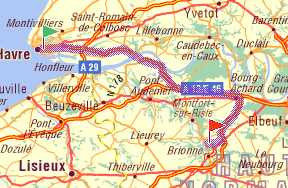 Route from Le Havre - click for full details